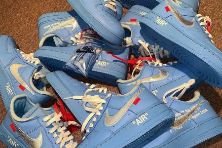 "6月発売予定 Off-White × NIKE AIR FORCE 1 LOW ""UNIVERSITY BLUE"""