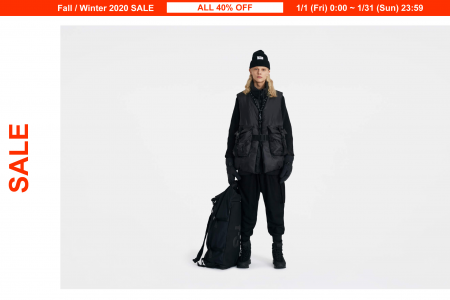 ALL 40%OFF!Y-3 新年SALE開催中1/31(日)23:59まで